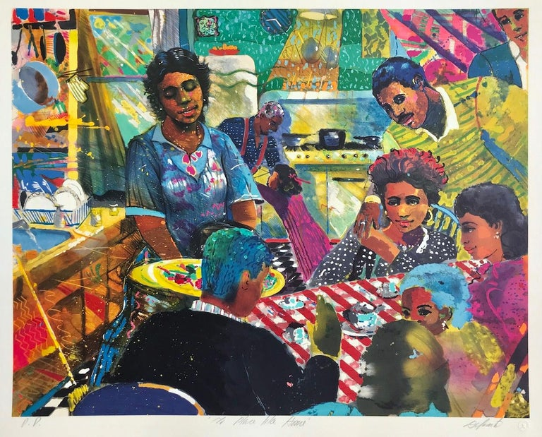 NO PLACE LIKE HOME Signed Lithograph, African American Culture, Family Dinner - Print by Louis Delsarte