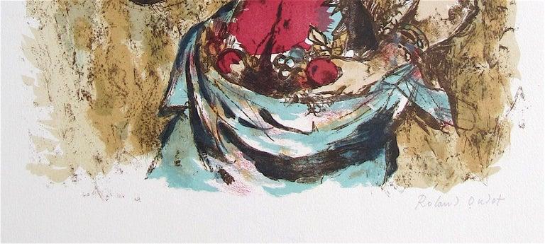 HARVEST QUEEN Signed Lithograph, Female Portrait, Field Flowers, Fruit, Wheat  - Gray Portrait Print by Roland Oudot