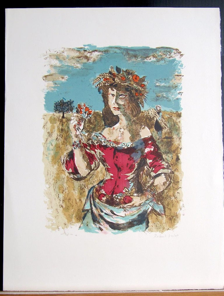 HARVEST QUEEN is an original limited edition lithograph by the French artist Roland Oudot (1897-1981) printed from hand drawn lithography stones in Paris France on wove paper circa 1973. HARVEST QUEEN portrays a painterly portrait of a lovely young