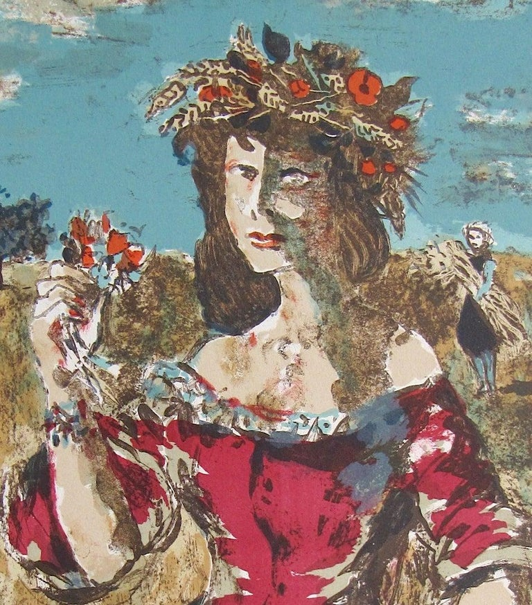 HARVEST QUEEN Signed Lithograph, Female Portrait, Field Flowers, Fruit, Wheat  - Print by Roland Oudot