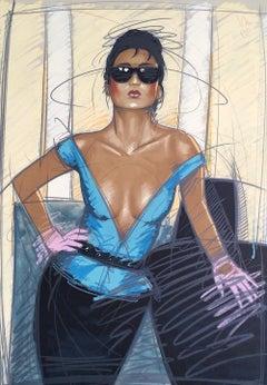 JEANE Signed Lithograph, Female Fashion Portrait, V-Neck Top, Dark Sunglasses