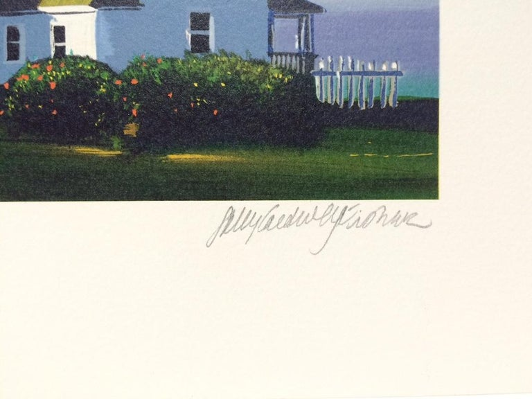 PEMAQUID LIGHT Signed Lithograph, New England Summer, Historic Lighthouse - Blue Figurative Print by Sally Caldwell-Fisher