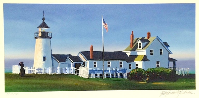 PEMAQUID LIGHT Signed Lithograph, New England Summer, Historic Lighthouse - Print by Sally Caldwell-Fisher