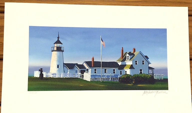 PEMAQUID LIGHT is an original hand drawn lithograph by the American woman artist Sally Caldwell-Fisher, printed using hand lithography techniques on archival Arches paper 100% acid free. PEMAQUID LIGHT portrays one of mid-coast Maine's most