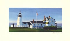 PEMAQUID LIGHT Signed Lithograph, New England Summer, Historic Lighthouse