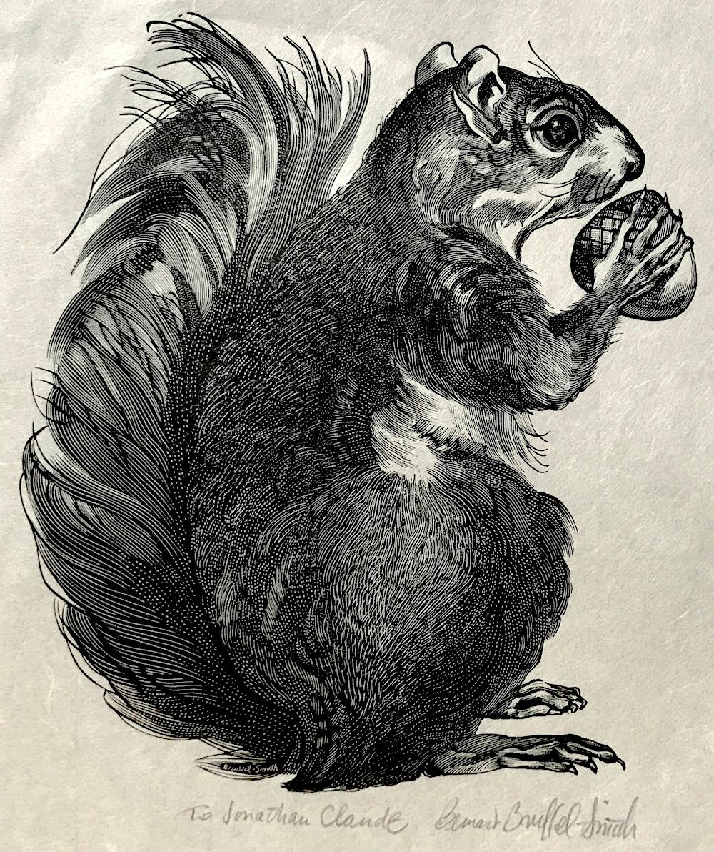 SQUIRREL Signed Wood Engraving, Animal Portrait on Japanese Rice Paper, Nature