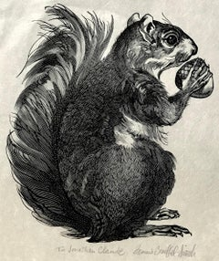SQUIRREL Signed Wood Engraving, Animal Portrait, Bushy-tailed Rodent w Acorn