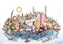 JERUSALEM OF PEACE Signed Embossed Lithograph, Western Wall Jerusalem, Judaica