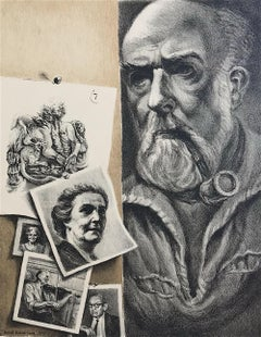 BRUSSEL-SMITH SELF PORTRAIT Hand Drawn Stone Lithograph, Bearded Man w Pipe