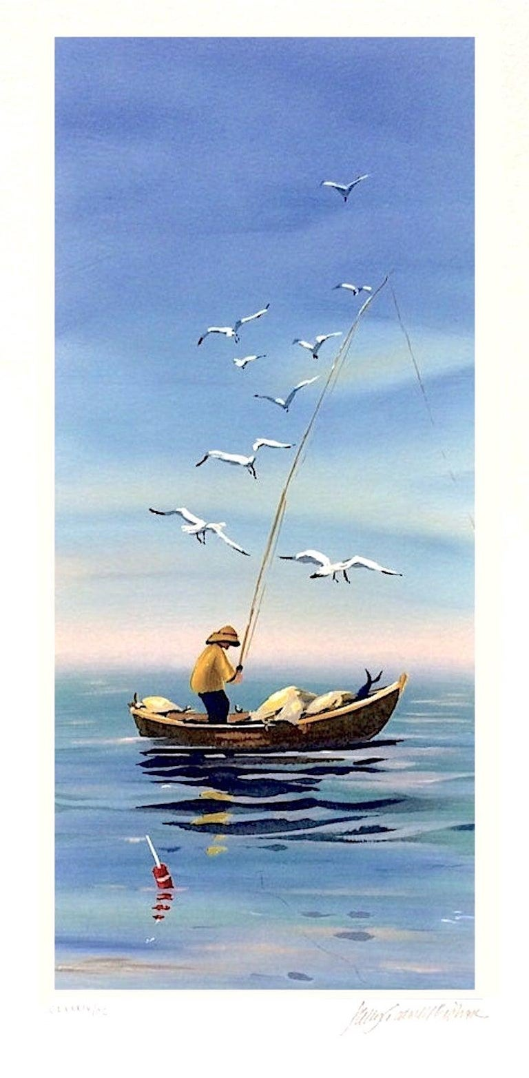 Sally Caldwell-Fisher Landscape Print - EARLY CATCH Signed Lithograph, New England Fisherman, Small Boat Print