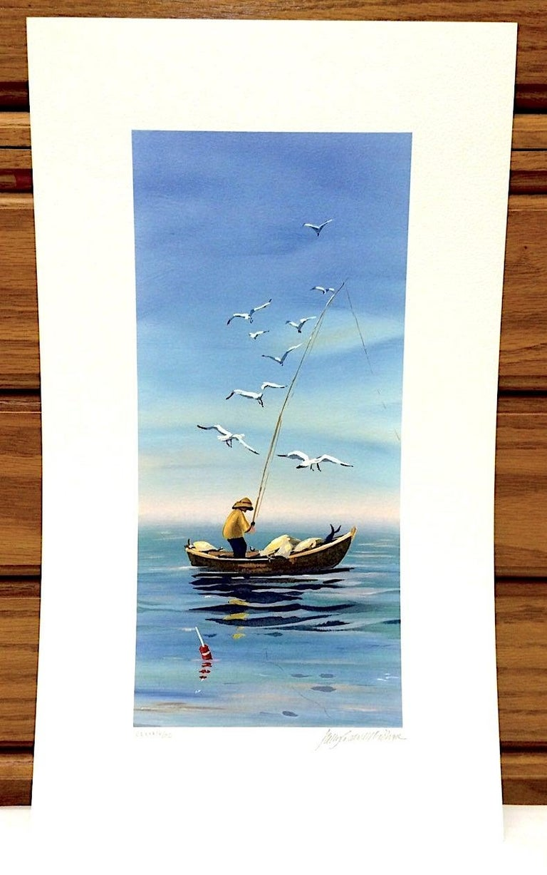 EARLY CATCH Signed Lithograph, New England Fisherman, Small Boat Print For Sale 2