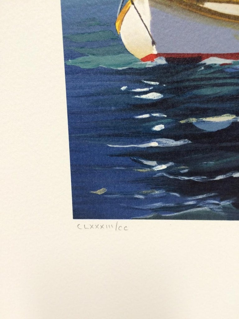 THE LOOKOUT is an original hand drawn lithograph by the American woman artist Sally Caldwell-Fisher, printed using hand lithography techniques on archival Arches paper 100% acid free. THE LOOKOUT depicts a quiet boating scene with a young sailor