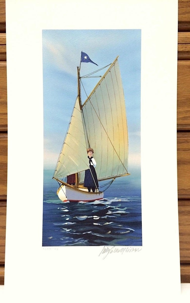 THE LOOKOUT Signed Lithograph, New England Summer, Small Sailboat Print For Sale 2