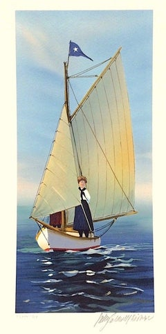 THE LOOKOUT Signed Lithograph, New England Summer, Small Sailboat Print