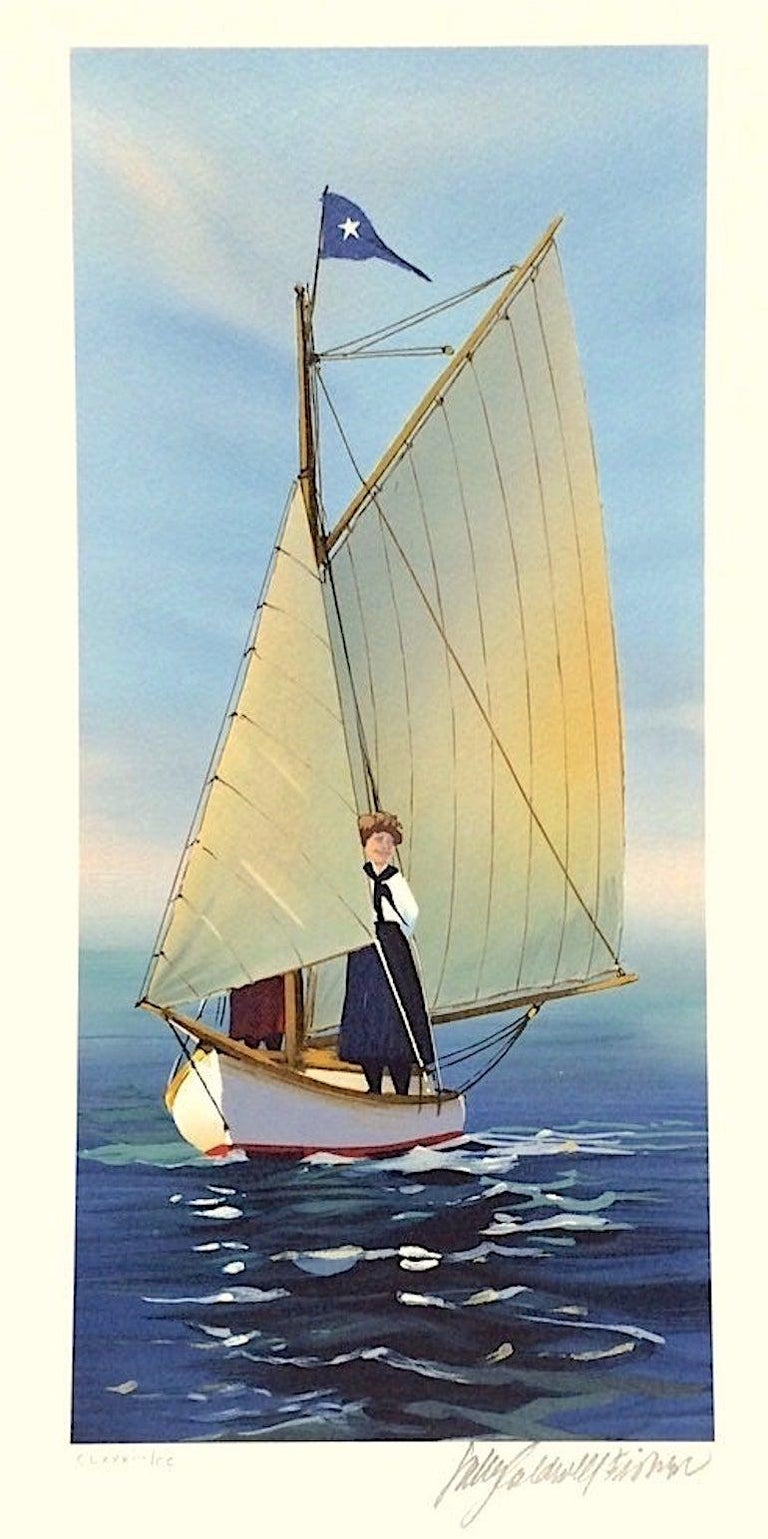 Sally Caldwell-Fisher Landscape Print - THE LOOKOUT Signed Lithograph, New England Summer, Small Sailboat Print