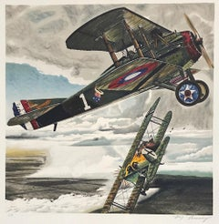 CAPTAIN EDDIE Signed Lithograph WW I Flying Ace, Air Combat Aviation History