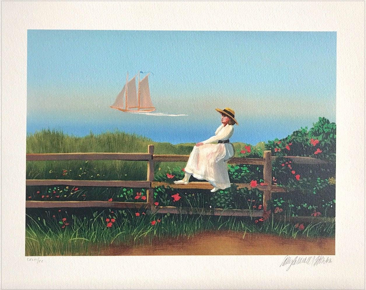 DREAMING Signed Lithograph, Small Portrait, New England Summer, Sailing