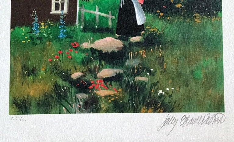 FARAWAY SAILS Signed Lithograph, Mother and Child, New England Summer House - Contemporary Print by Sally Caldwell-Fisher