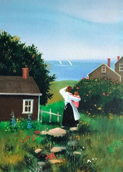 FARAWAY SAILS Signed Lithograph, Mother and Child, New England Summer House