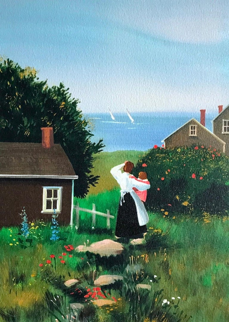 Sally Caldwell-Fisher Portrait Print - FARAWAY SAILS Signed Lithograph, Mother and Child, New England Summer House