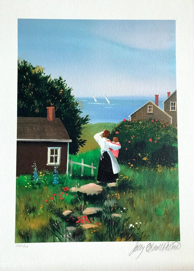FARAWAY SAILS Signed Lithograph, Mother and Child, New England Summer House - Black Portrait Print by Sally Caldwell-Fisher
