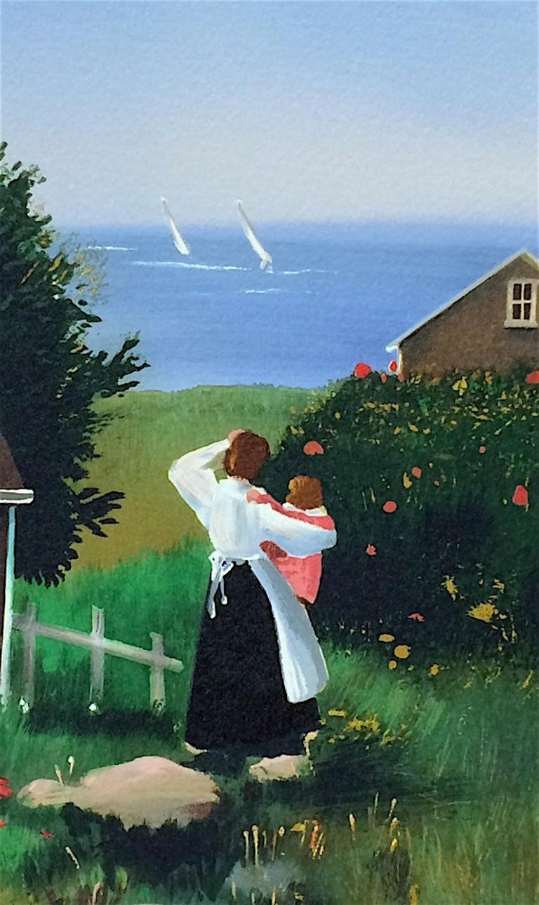 FARAWAY SAILS Signed Lithograph, Mother and Child, New England Summer House - Print by Sally Caldwell-Fisher