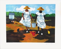 SHARING THE CHORES Signed Lithograph, African American Heritage, Gullah Culture