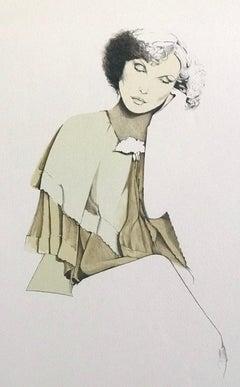 CONTEMPLATION Signed Hand Drawn Lithograph, Sensitive Female Portrait, 1970's
