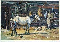 SHOE SHOP Signed Lithograph, Cowboy Farrier, Horseshoe, White Horse, Western Art