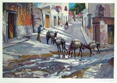 BURRO EXPRESS Signed Lithograph, Vintage New Mexico, Pack Burros, Sunlight