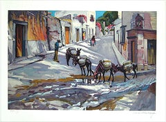 BURRO EXPRESS Signed Lithograph, Village Street Scene New Mexico, Pack Burros