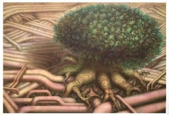 TREE ROOTS I, Hand Drawn Lithograph, Fantasy Landscape, Surreal Tree, Pipeline
