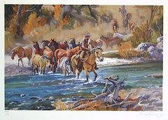 EASIN' EM HOME Signed Lithograph, Western Scene, Cowboy Crossing River w Horses