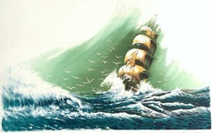 SEVEN SEAS Signed Hand Drawn Lithograph, Sailing Ship Portrait, Ocean Waves