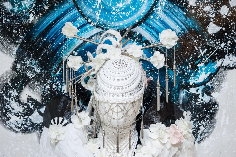 "Oriental fashion wall piece, blue.  ""Limitless Light of the Void"" (spirit) Ostrich, peacock and duck feathers, hair, shibari, Swarovski Crystals, metal fans and notions, silk flowers, eel skin, kimono fabric, acrylic paint on canvas 3' x 7' New"