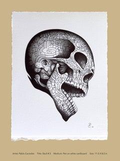 """""""Skull 3"""" - skull pen drawing on paper"""