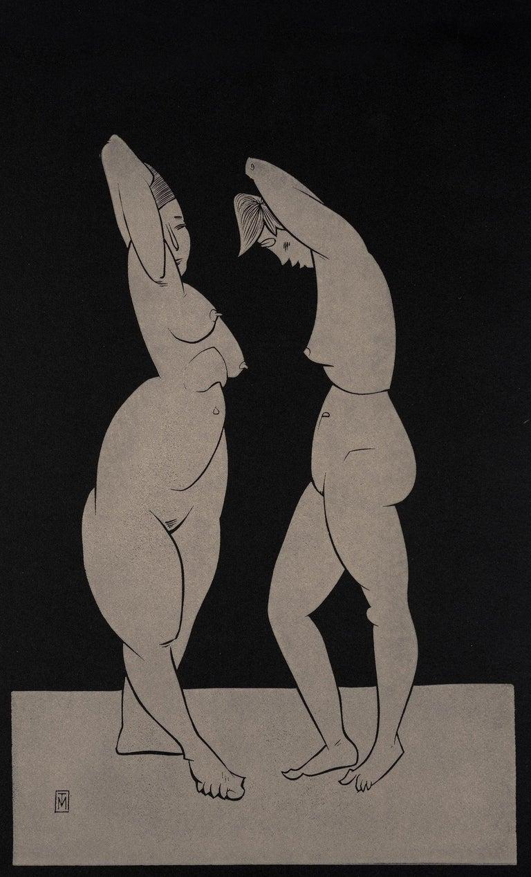 "Martyn Tverdun Nude - ""Contemplation II"" - gold block print on black paper"