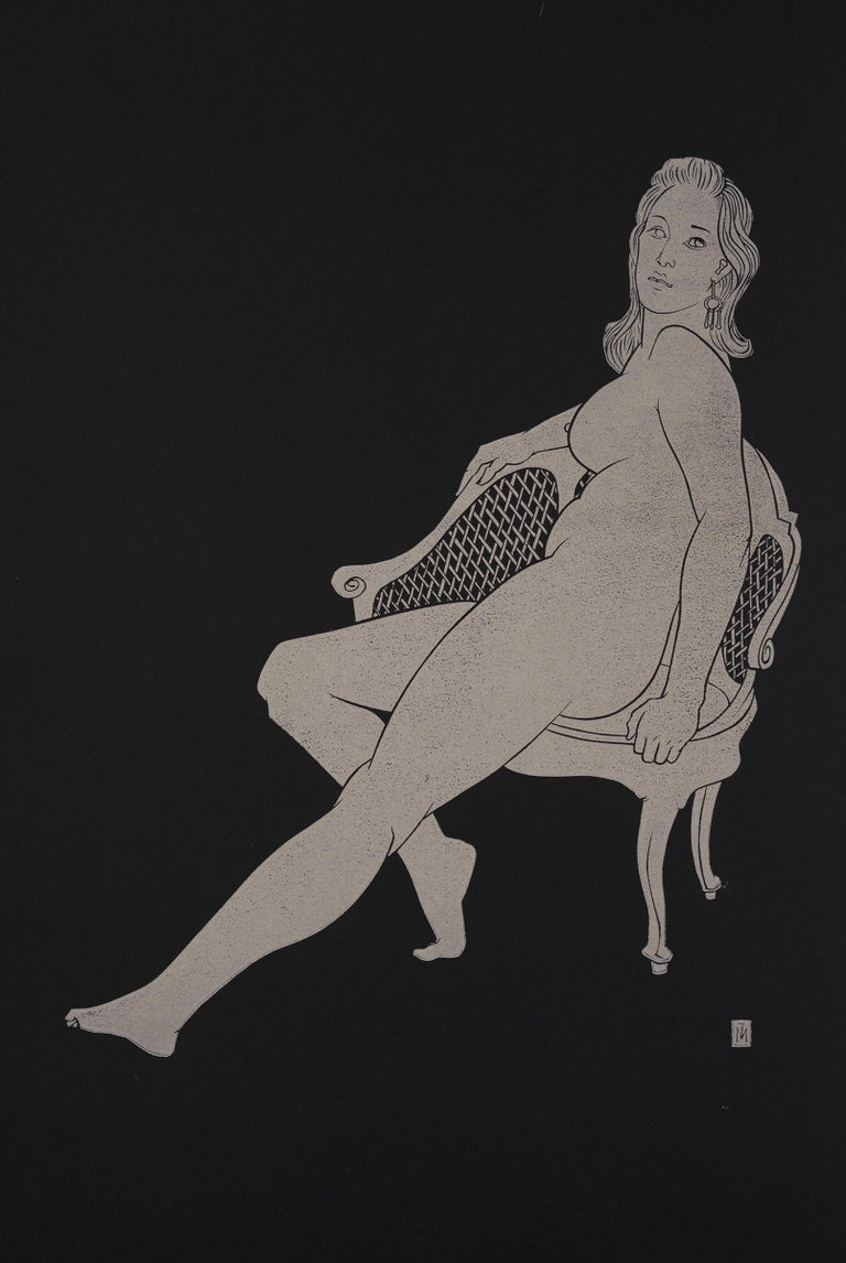 """Martyn Tverdun Nude - """"Sitting on the Old Chair"""" - gold block print on black paper"""