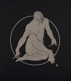 """""""In The Circle"""" - gold block print on black paper, male nude"""