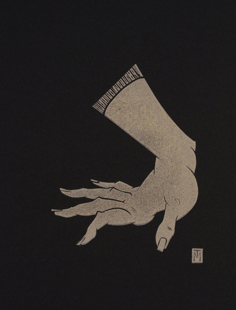 "Martyn Tverdun Nude - ""Hand"" - gold block print on black paper"