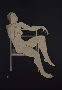 """Sitting on the Chair"" - gold block print on black paper, nude african female"