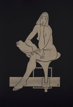 """Sitting on the Modern Chair"" - gold block print on black paper, nude female"