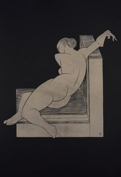 """Half-reclining"" - gold block print on black paper, nude female, art deco"