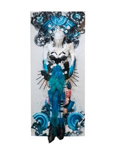 """Limitless Light of the Void"" (spirit) - oriental 3D wall piece in blue"