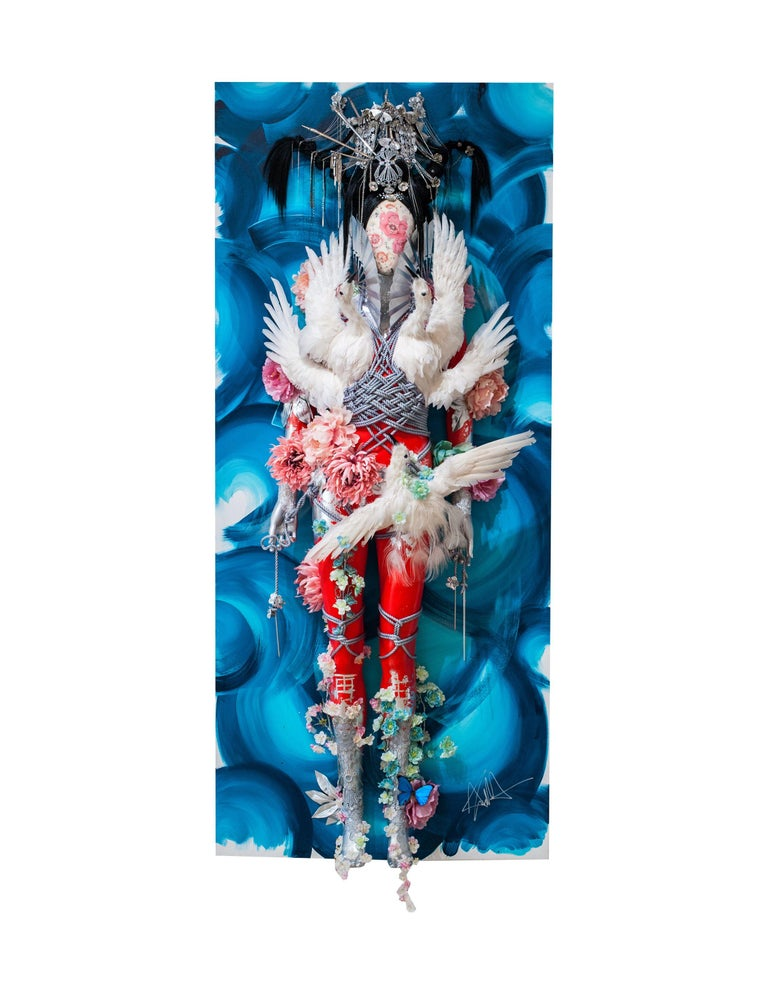 """Theresa Dapra Figurative Painting - """"Waves of Winged Illusions"""" (water) - oriental 3D wall piece in blue"""