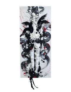 """Blood of the Unveiled"" (earth) - oriental 3D wall piece in black and white"