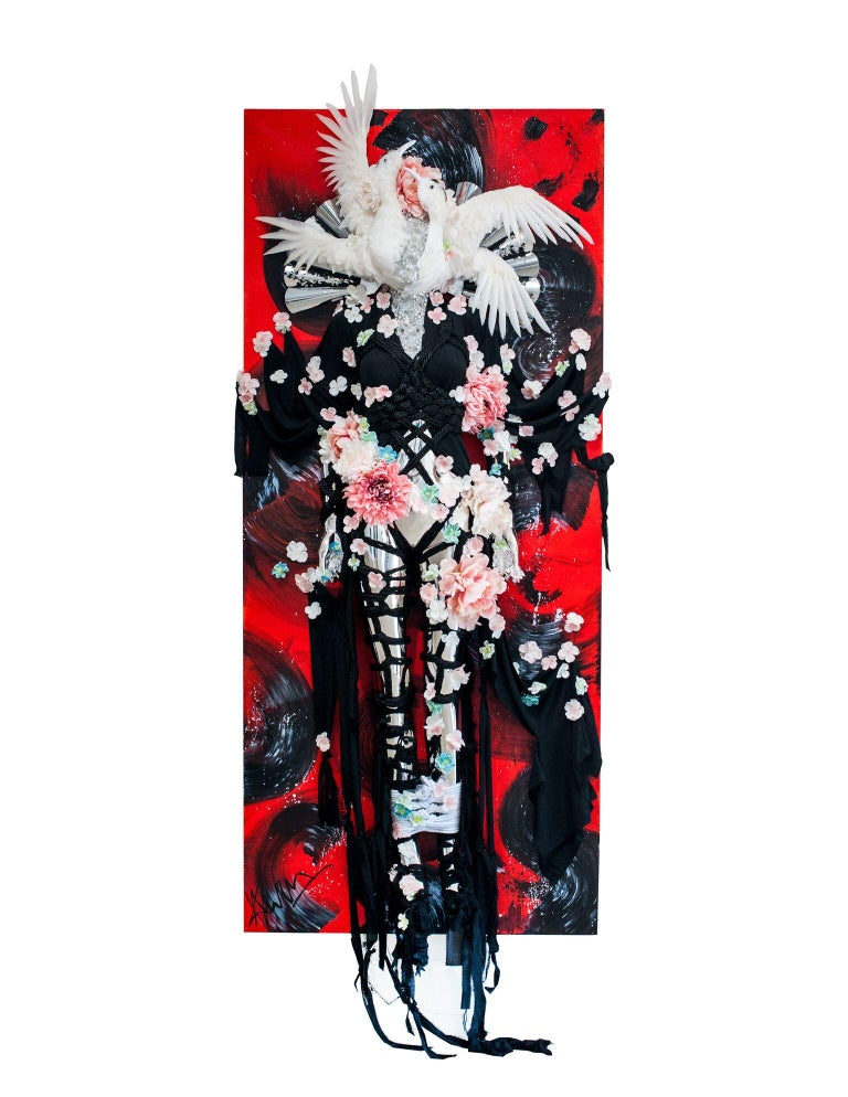 """Theresa Dapra Figurative Painting - """"Flight of Eternal Fortune"""" (air) - oriental 3D wall piece in red"""