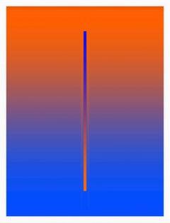 """Lunar Year"" - minimalistic digital print, orange and blue, white frame"