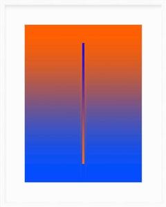 """Lunar Year"" - minimalistic digital print, orange and blue, white mat"