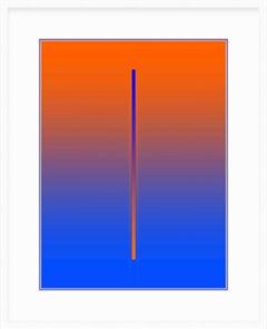 """Lunar Year"" - minimal digital print, orange and blue, white mat purple core"